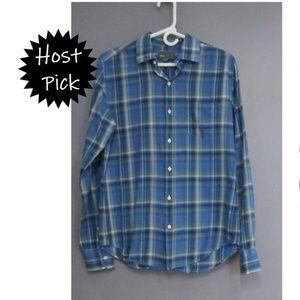 🎈HP🎈 Vince Blue & Green Plaid Check Shirt Size S